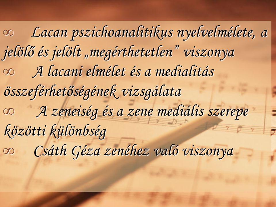 """∞ Lacan pszichoanalitikus nyelvelmélete, a jelölő és jelölt """"megérthetetlen viszonya ∞ A lacani elmélet és a medialitás összeférhetőségének vizsgálata ∞ A zeneiség és a zene mediális szerepe közötti különbség ∞ Csáth Géza zenéhez való viszonya"""