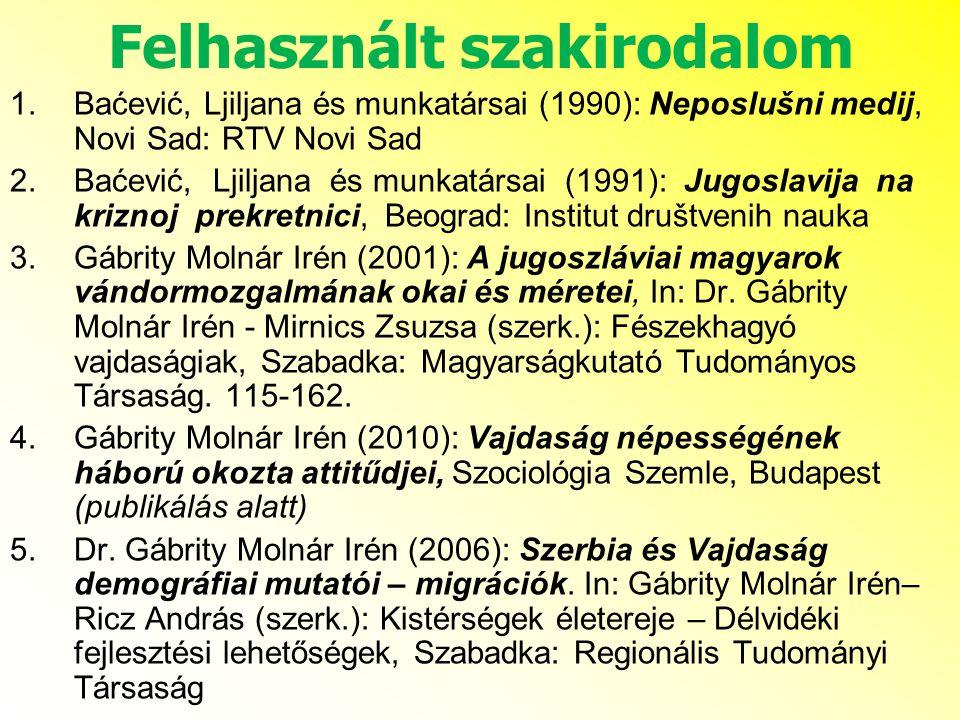 Felhasznált szakirodalom 1.Baćević, Ljiljana és munkatársai (1990): Neposlušni medij, Novi Sad: RTV Novi Sad 2.Baćević, Ljiljana és munkatársai (1991): Jugoslavija na kriznoj prekretnici, Beograd: Institut društvenih nauka 3.Gábrity Molnár Irén (2001): A jugoszláviai magyarok vándormozgalmának okai és méretei, In: Dr.