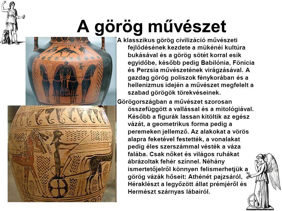 A görög művészet A klasszikus görög civilizáció művészeti fejlődésének kezdete a mükénéi kultúra bukásával és a görög sötét korral esik egyidőbe, késő