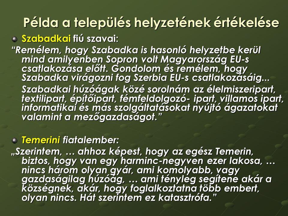 Példa a település helyzetének értékelése Szabadkai fiú szavai: Remélem, hogy Szabadka is hasonló helyzetbe kerül mind amilyenben Sopron volt Magyarország EU-s csatlakozása előtt.