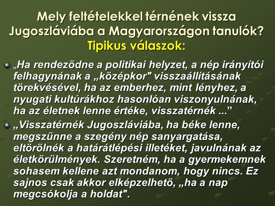 Mely feltételekkel térnének vissza Jugoszláviába a Magyarországon tanulók.