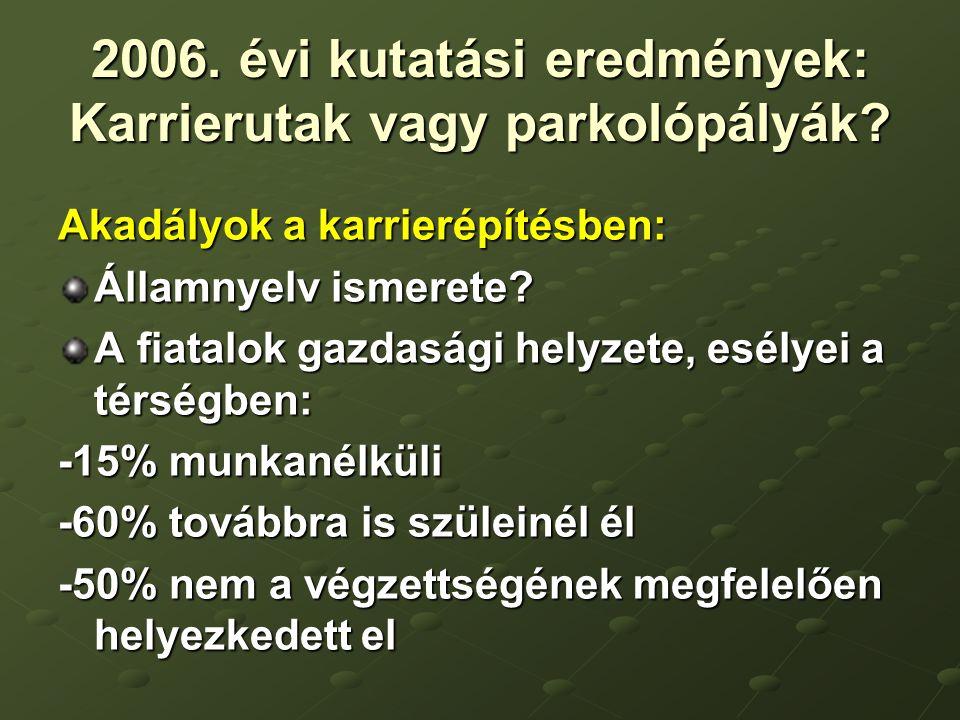 2006. évi kutatási eredmények: Karrierutak vagy parkolópályák.