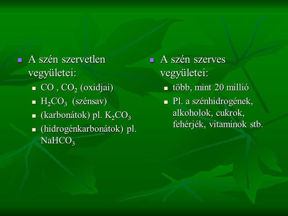 A szén szervetlen vegyületei: A szén szervetlen vegyületei: CO, CO 2 (oxidjai) CO, CO 2 (oxidjai) H 2 CO 3 (szénsav) H 2 CO 3 (szénsav) (karbonátok) pl.