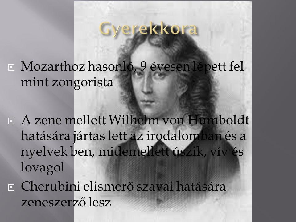  Mozarthoz hasonló, 9 évesen lépett fel mint zongorista  A zene mellett Wilhelm von Humboldt hatására jártas lett az irodalomban és a nyelvek ben, midemellett úszik, vív és lovagol  Cherubini elismerő szavai hatására zeneszerző lesz
