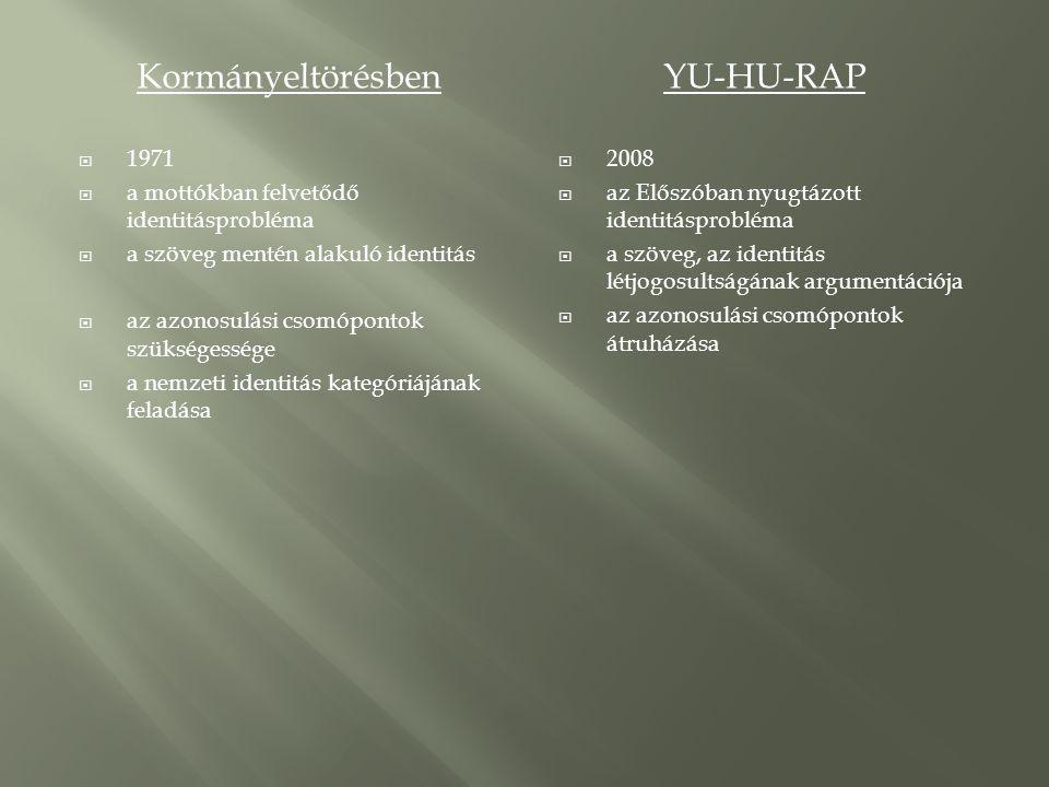 KormányeltörésbenYU-HU-RAP  1971  a mottókban felvetődő identitásprobléma  a szöveg mentén alakuló identitás  az azonosulási csomópontok szükségessége  a nemzeti identitás kategóriájának feladása  2008  az Előszóban nyugtázott identitásprobléma  a szöveg, az identitás létjogosultságának argumentációja  az azonosulási csomópontok átruházása