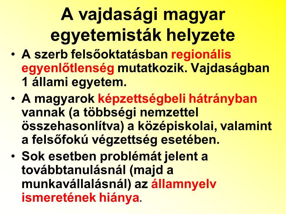 """Stratégiák és tendenciák: a legközelebbi városban tanul - szülői sugallat (költségkímélő megoldás) – gyakori a fárasztó és költséges ingázás magyar nyelven – energiakímélő hálózathatás/városvonzás (tömb magyar térség, vagy az anyaország) alkalmi munka mellett, magán karokon, vagy kihelyezett tagozaton távoktatással próbálkozik a magyar fiatal munkavállalók karrierje akadozik, ha a szerb nyelvtudásuk gyenge, vagy nem tudnak legalább egy világnyelvet is magyarság pozícióvesztése (alulreprezentáltság a """"presztízsszakmákban ) magyarság pozícióvesztése (alulreprezentáltság a """"presztízsszakmákban )"""