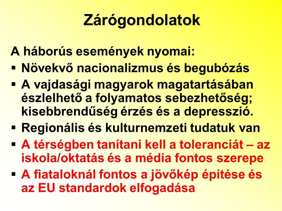 Zárógondolatok A háborús események nyomai:  Növekvő nacionalizmus és begubózás  A vajdasági magyarok magatartásában észlelhető a folyamatos sebezhetőség; kisebbrendűség érzés és a depresszió.