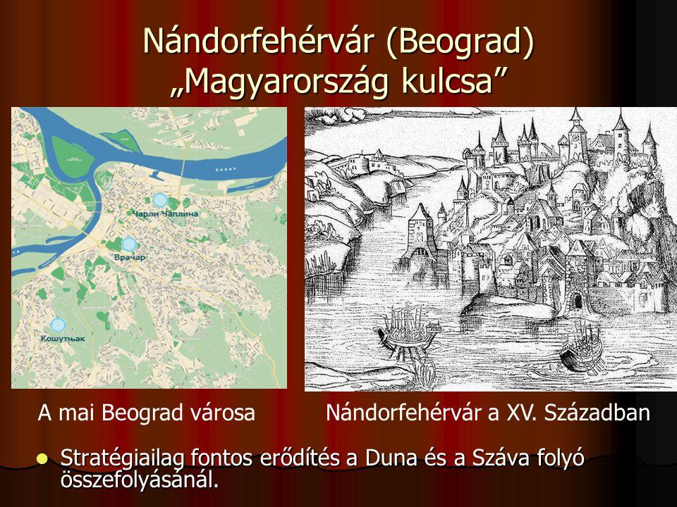"""Nándorfehérvár (Beograd) """"Magyarország kulcsa"""" Stratégiailag fontos erődítés a Duna és a Száva folyó összefolyásánál. Stratégiailag fontos erődítés a"""