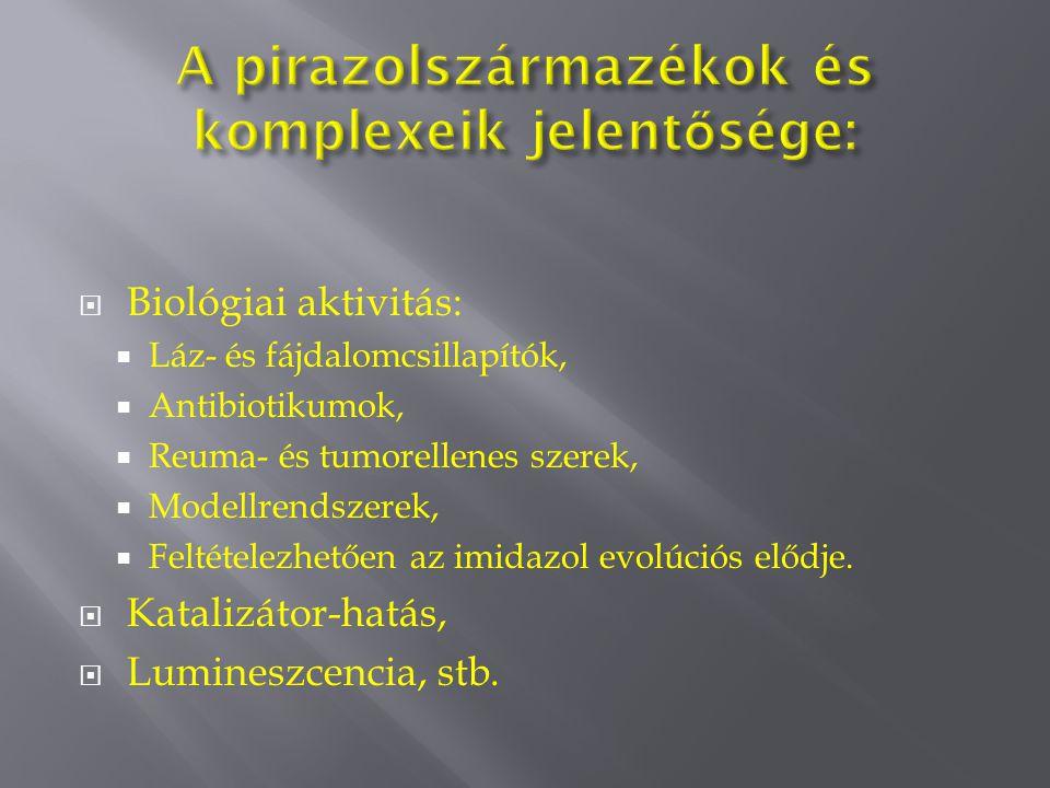  Biológiai aktivitás:  Láz- és fájdalomcsillapítók,  Antibiotikumok,  Reuma- és tumorellenes szerek,  Modellrendszerek,  Feltételezhetően az imidazol evolúciós elődje.