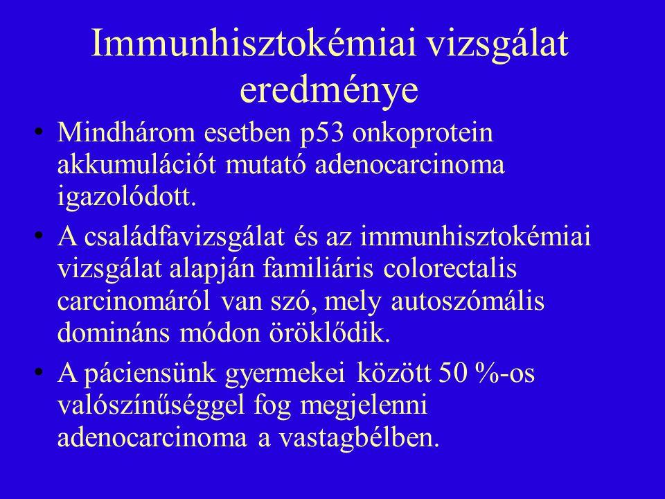 Immunhisztokémiai vizsgálat eredménye Mindhárom esetben p53 onkoprotein akkumulációt mutató adenocarcinoma igazolódott. A családfavizsgálat és az immu