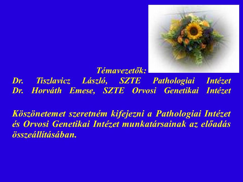 Témavezetők: Dr. Tiszlavicz László, SZTE Pathologiai Intézet Dr. Horváth Emese, SZTE Orvosi Genetikai Intézet Köszönetemet szeretném kifejezni a Patho