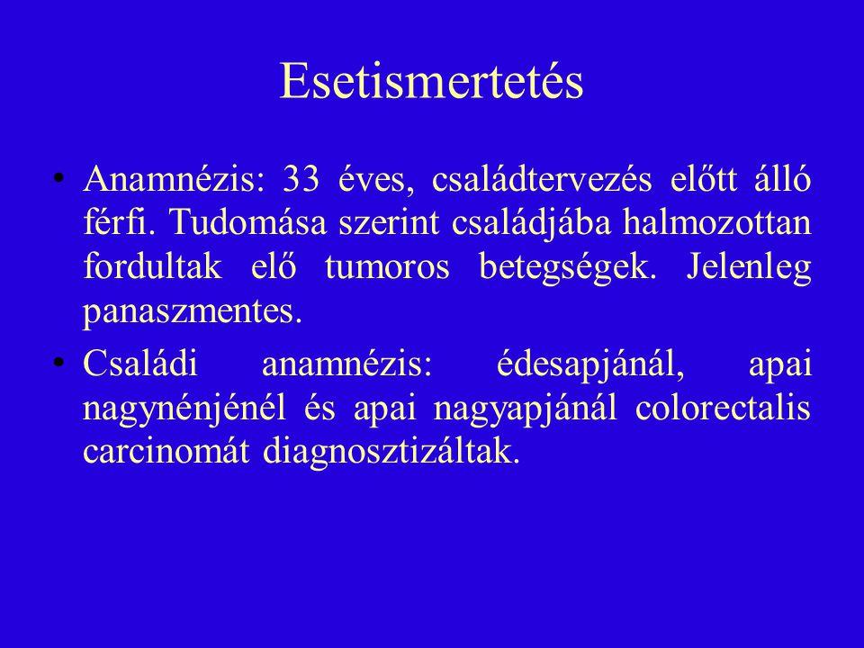Esetismertetés Anamnézis: 33 éves, családtervezés előtt álló férfi. Tudomása szerint családjába halmozottan fordultak elő tumoros betegségek. Jelenleg