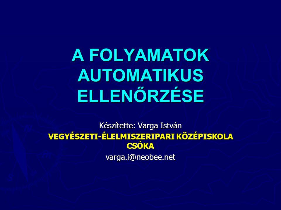 A FOLYAMATOK AUTOMATIKUS ELLENŐRZÉSE Készítette: Varga István VEGYÉSZETI-ÉLELMISZERIPARI KÖZÉPISKOLA CSÓKA varga.i@neobee.net
