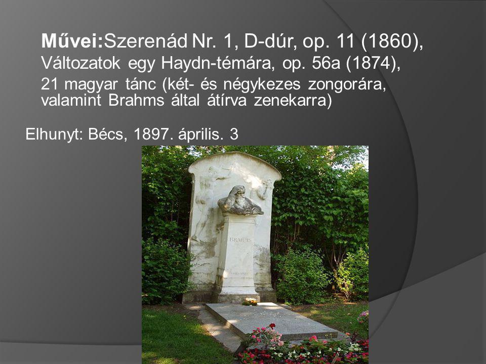 Művei:Szerenád Nr. 1, D-dúr, op. 11 (1860), Változatok egy Haydn-témára, op. 56a (1874), 21 magyar tánc (két- és négykezes zongorára, valamint Brahms