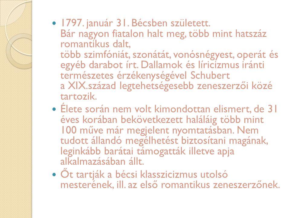 1797. január 31. Bécsben született. Bár nagyon fiatalon halt meg, több mint hatszáz romantikus dalt, több szimfóniát, szonátát, vonósnégyest, operát é