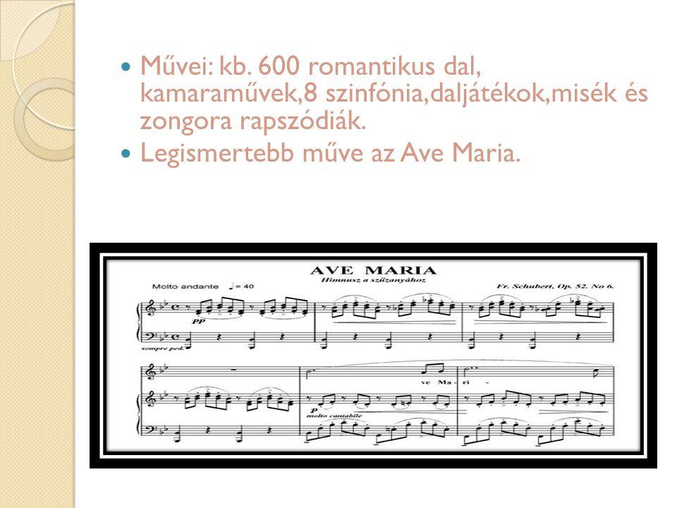 Művei: kb. 600 romantikus dal, kamaraművek,8 szinfónia,daljátékok,misék és zongora rapszódiák. Legismertebb műve az Ave Maria.