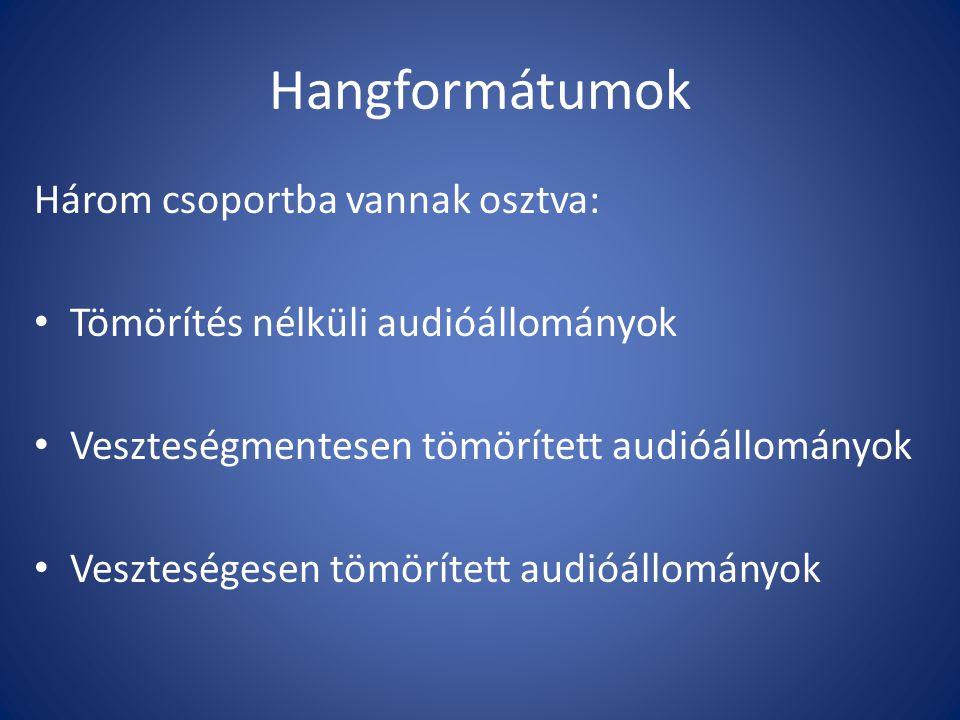 Tömörítés nélküli audióállományok Tömörítés nélküli audióállományok tartalmazzák az eredeti hangfelvételt.