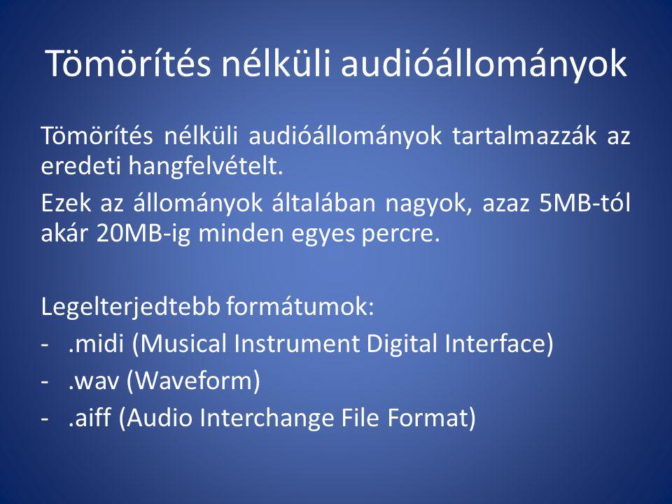 Veszteségmentesen tömörített audióállományok Veszteségmentes tömörítéssel a tömörített állomány nagysága az eredeti állomány felére csökken, viszont a minőség is és az adatok is megmaradnak.