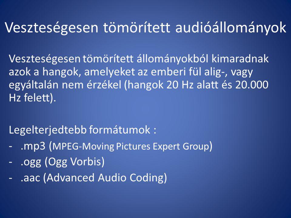 Hangformátum közötti átalakitás (konvertálás) Számos ingyenes szoftver létezik, mint pl.