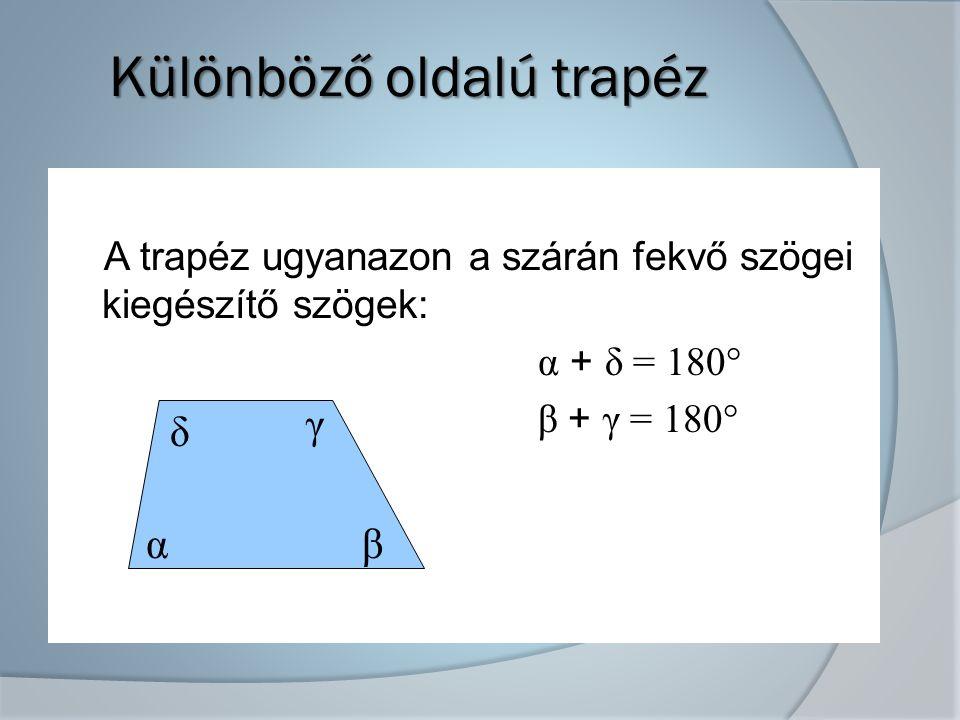 Különböző oldalú trapéz A trapéz ugyanazon a szárán fekvő szögei kiegészítő szögek: α + δ = 180° β + γ = 180° α δ β γ