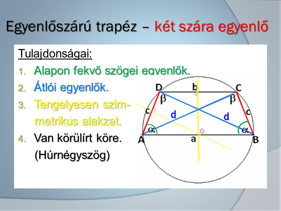 Egyenlőszárú trapéz – két szára egyenlő Egyenlőszárú trapéz – két szára egyenlő Tulajdonságai: 1.