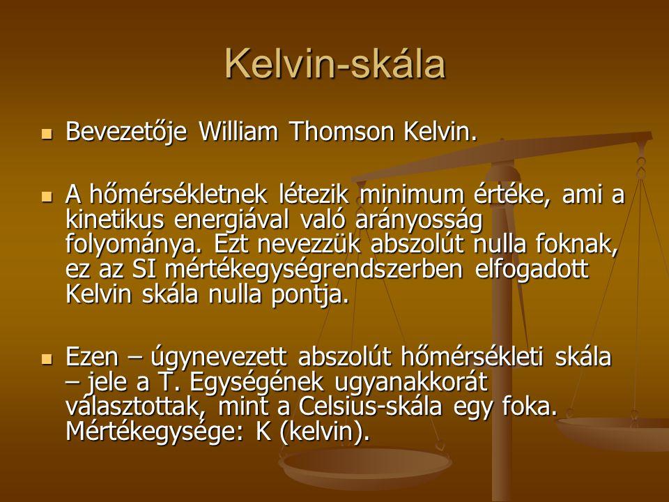 Kelvin-skála Bevezetője William Thomson Kelvin. Bevezetője William Thomson Kelvin. A hőmérsékletnek létezik minimum értéke, ami a kinetikus energiával