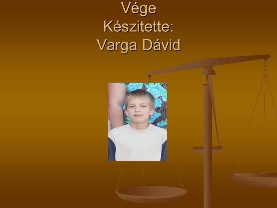 Vége Készitette: Varga Dávid