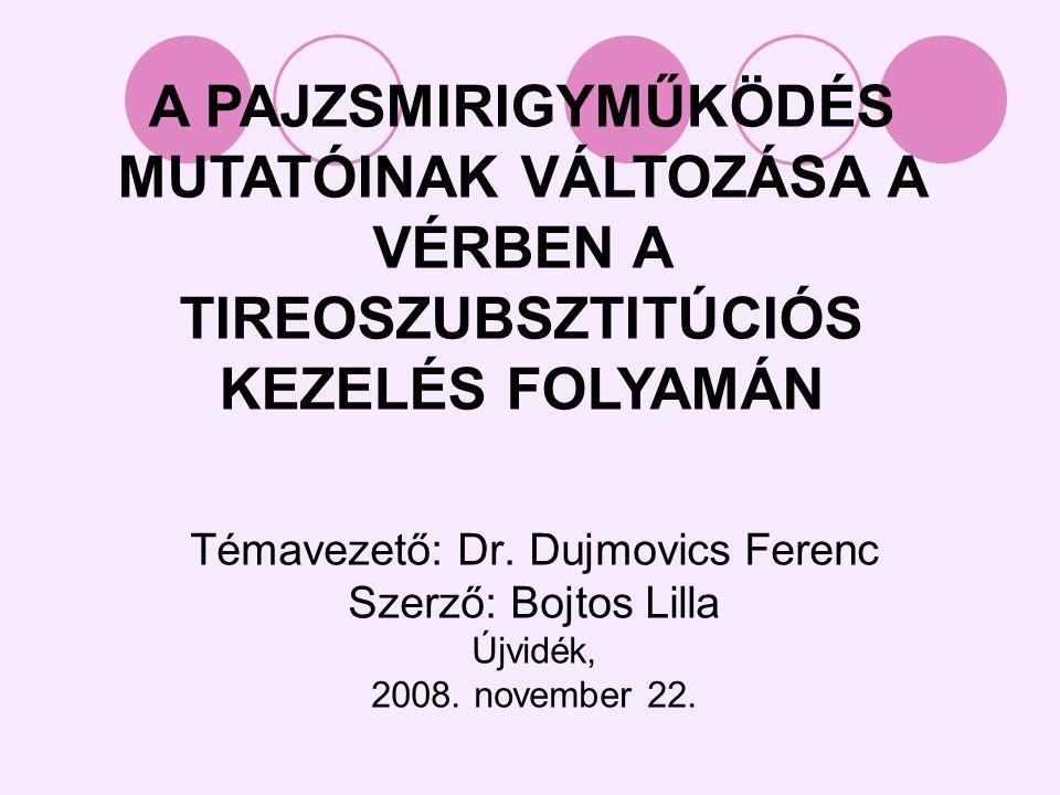 A PAJZSMIRIGYMŰKÖDÉS MUTATÓINAK VÁLTOZÁSA A VÉRBEN A TIREOSZUBSZTITÚCIÓS KEZELÉS FOLYAMÁN Témavezető: Dr. Dujmovics Ferenc Szerző: Bojtos Lilla Újvidé