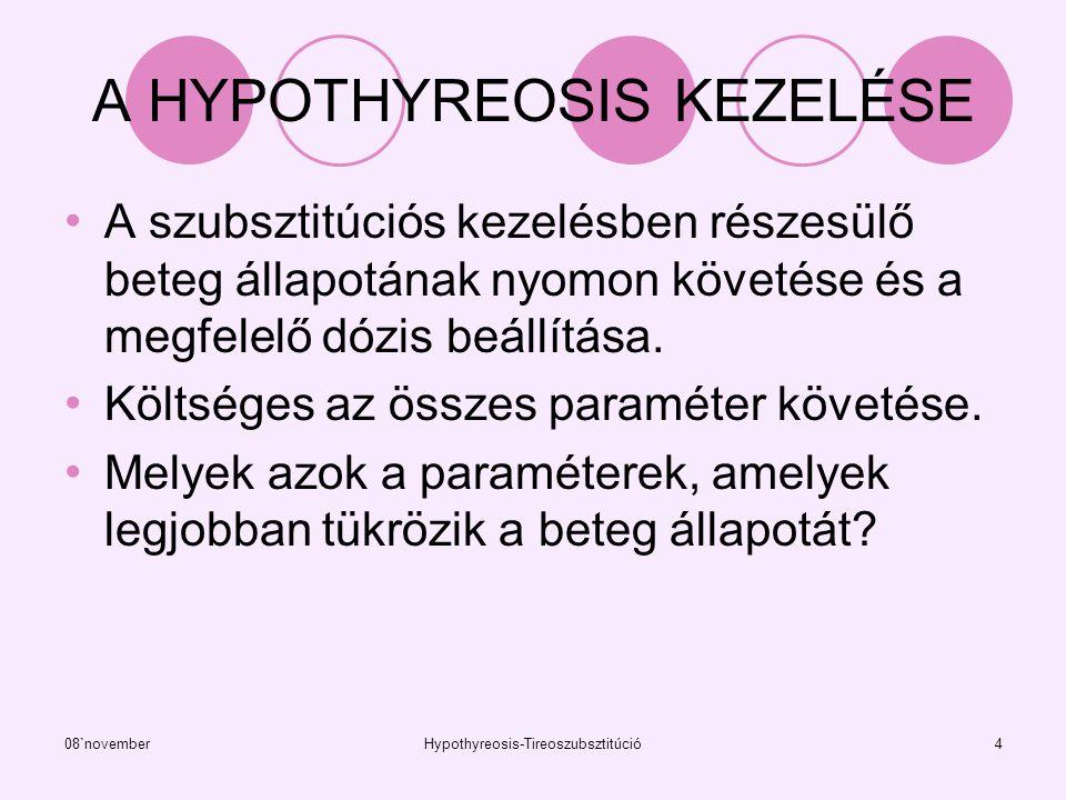 08`novemberHypothyreosis-Tireoszubsztitúció5 A MUNKA CÉLJA A pajzsmirigyműködés mutatók változásának nyomon követése a vérben a szubsztitúció folyamán.