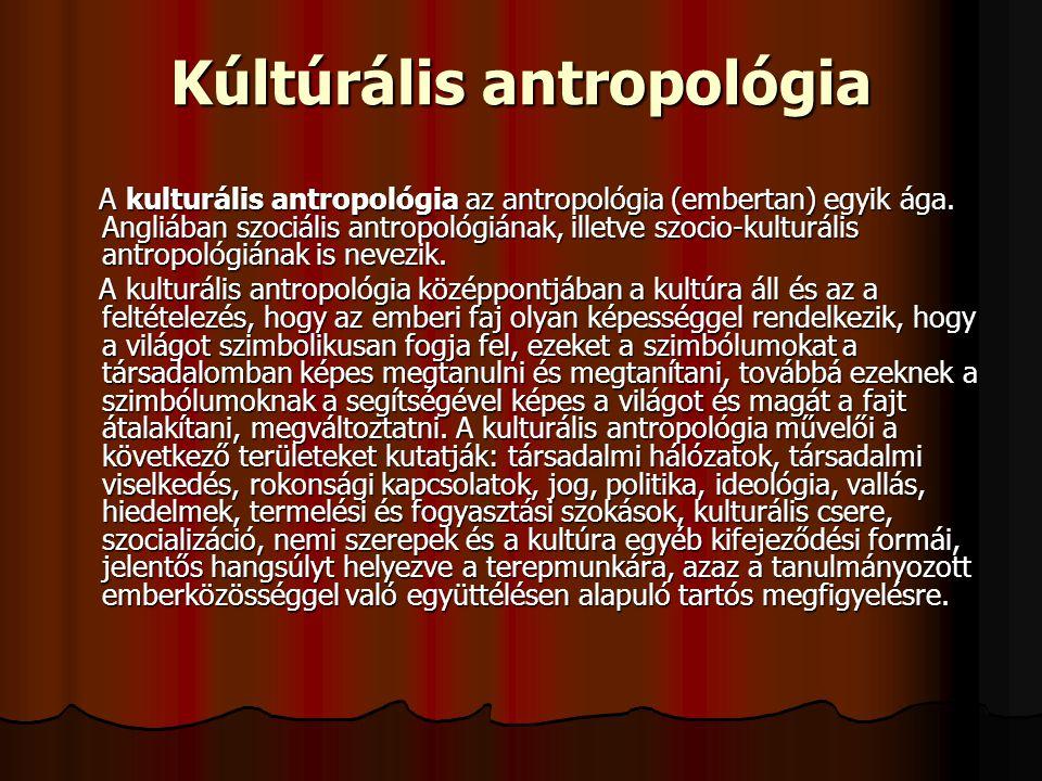 Kúltúrális antropológia A kulturális antropológia az antropológia (embertan) egyik ága. Angliában szociális antropológiának, illetve szocio-kulturális