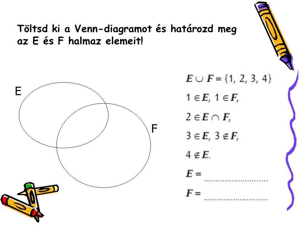 Töltsd ki a Venn-diagramot és határozd meg az E és F halmaz elemeit! E F