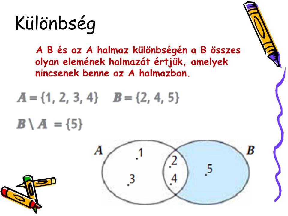 A B és az A halmaz különbségén a B összes olyan elemének halmazát értjük, amelyek nincsenek benne az A halmazban. Különbség
