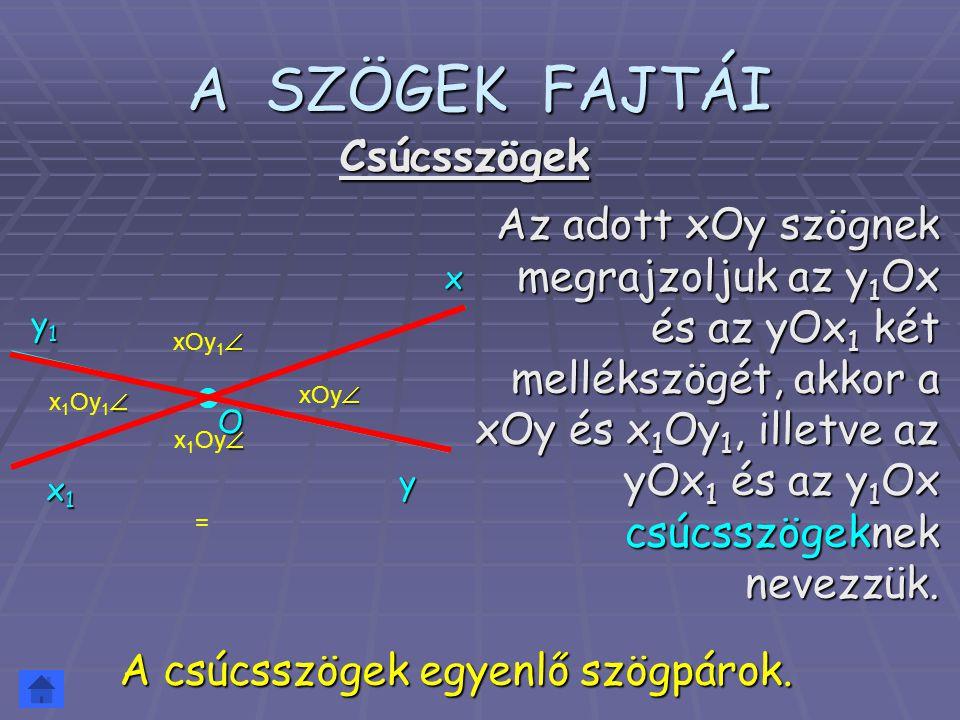 x 1 Oy  A SZÖGEK FAJTÁI Az adott xOy szögnek megrajzoljuk az y 1 Ox és az yOx 1 két mellékszögét, akkor a xOy és x 1 Oy 1, illetve az yOx 1 és az y