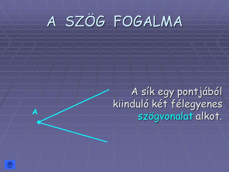 A SZÖG FOGALMA A szögvonal két részre osztja a sikot.
