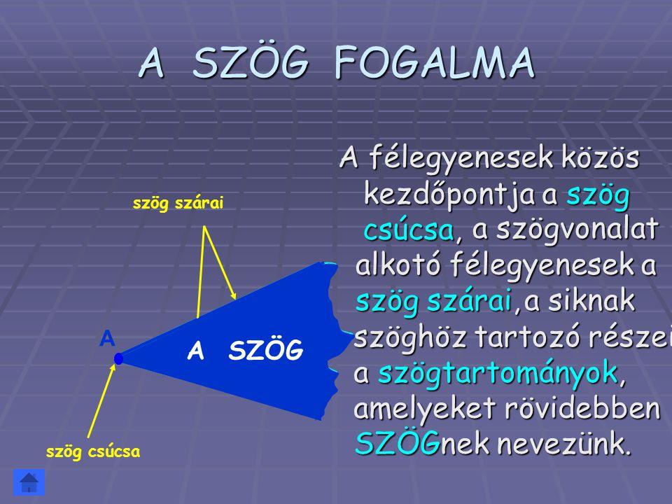A SZÖG FOGALMA A félegyenesek közös kezdőpontja a szög csúcsa, A szög csúcsa szög szárai szögtartomány A SZÖG a szögvonalat alkotó félegyenesek a szög