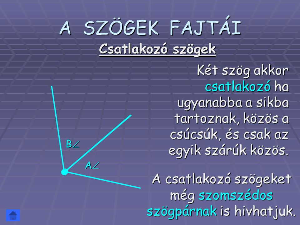 A SZÖGEK FAJTÁI Két szög akkor csatlakozó ha ugyanabba a sikba tartoznak, közös a csúcsúk, és csak az egyik szárúk közös. Csatlakozó szögek AAAA B