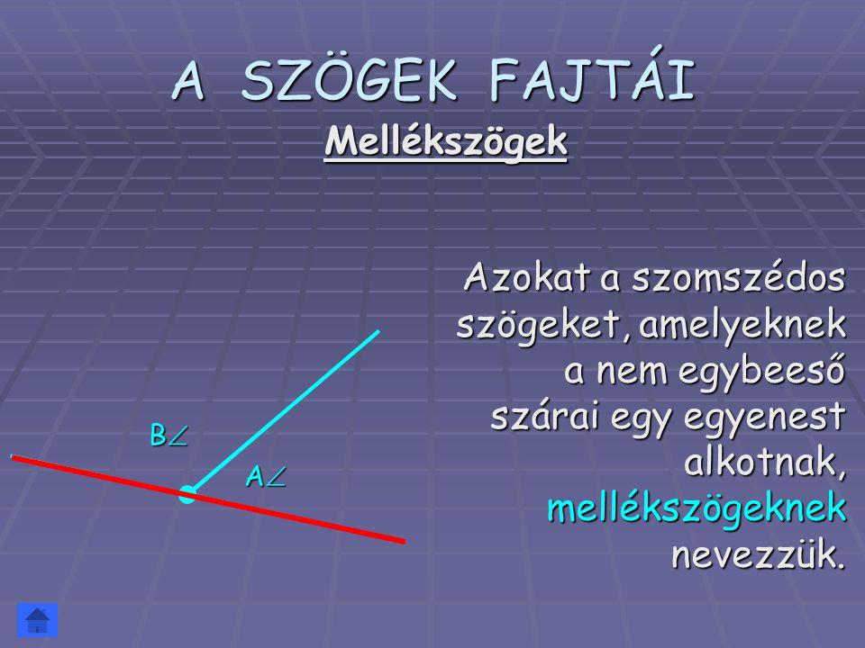 A SZÖGEK FAJTÁI Az a szög, melynek szárai egy egyenest alkotnak egyenesszögnek nevezzük.