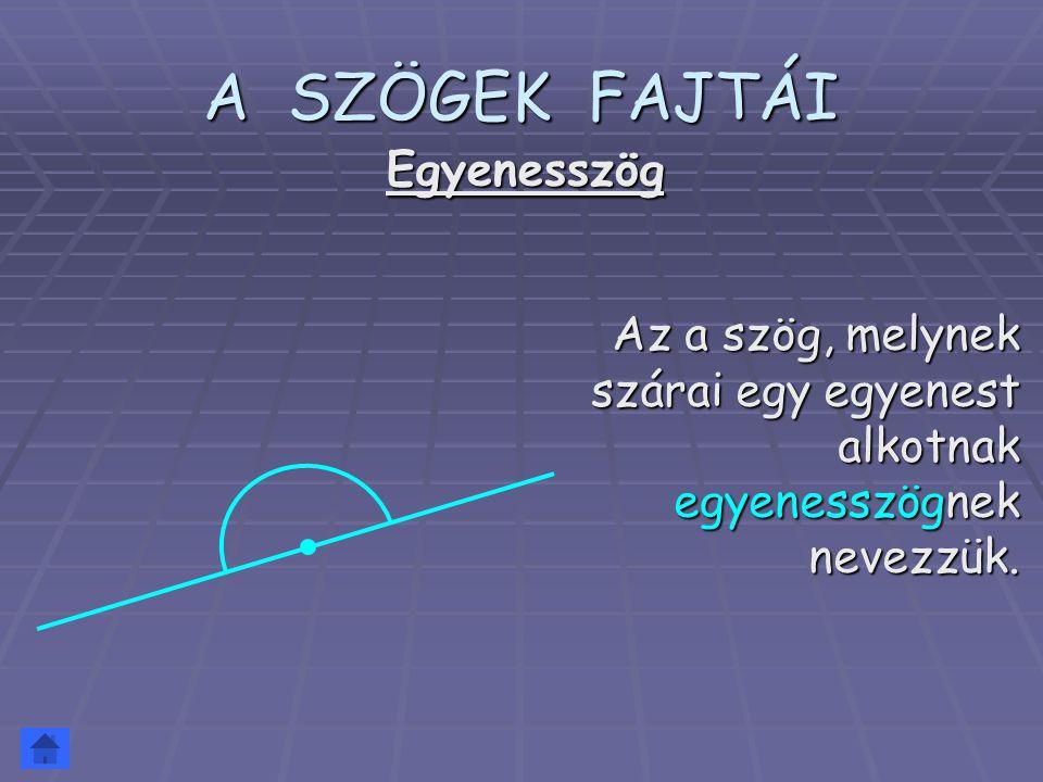 A SZÖGEK FAJTÁI Az a szög, melynek szárai egy egyenest alkotnak egyenesszögnek nevezzük. Egyenesszög