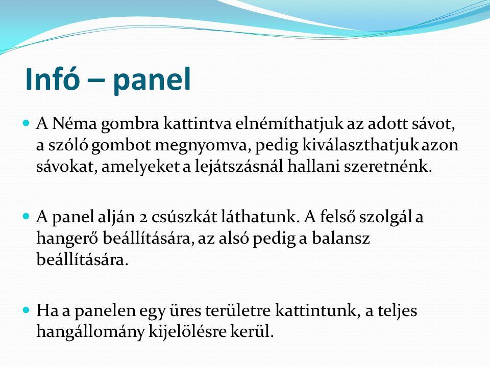 Infó – panel A Néma gombra kattintva elnémíthatjuk az adott sávot, a szóló gombot megnyomva, pedig kiválaszthatjuk azon sávokat, amelyeket a lejátszás