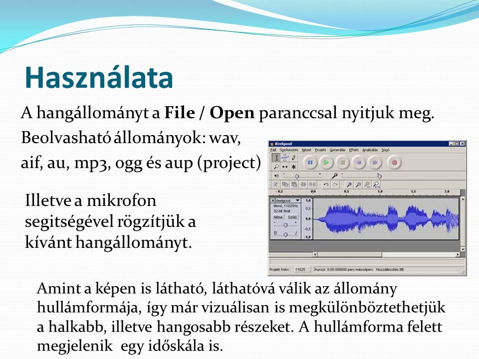 Használata A hangállományt a File / Open paranccsal nyitjuk meg. Beolvasható állományok: wav, aif, au, mp3, ogg és aup (project) Amint a képen is láth