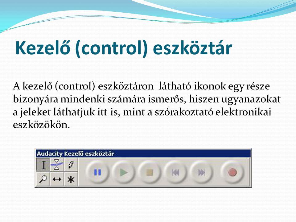 Kezelő (control) eszköztár A kezelő (control) eszköztáron látható ikonok egy része bizonyára mindenki számára ismerős, hiszen ugyanazokat a jeleket lá
