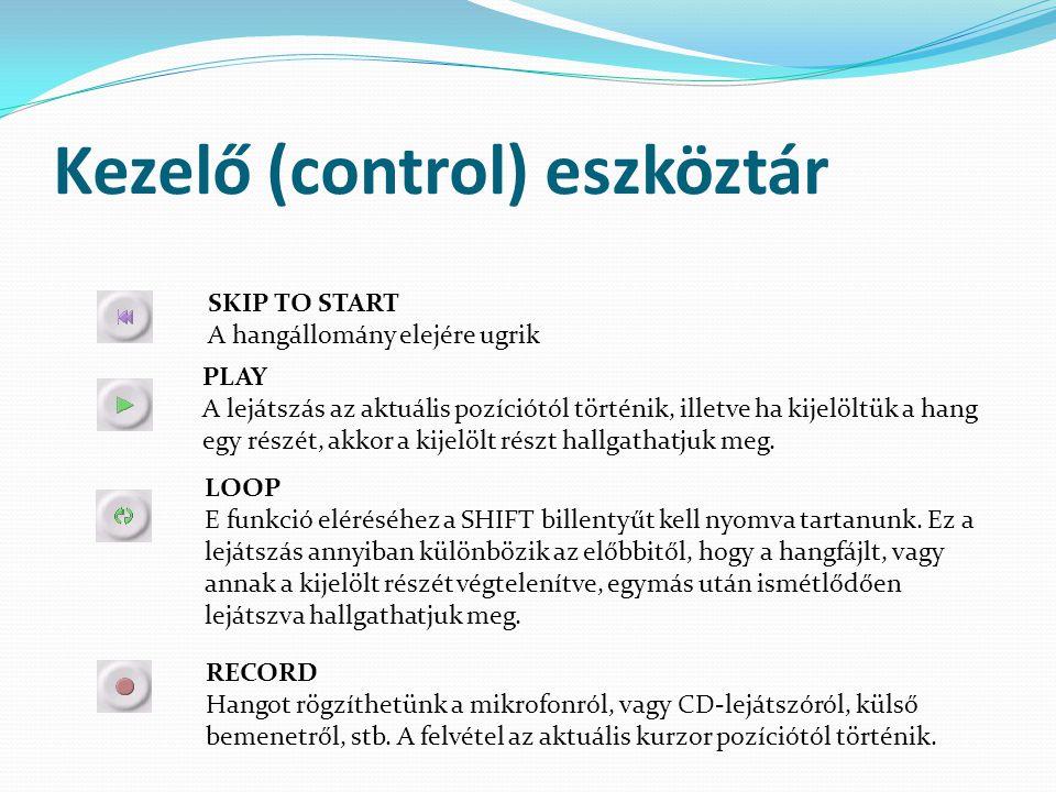 Kezelő (control) eszköztár SKIP TO START A hangállomány elejére ugrik PLAY A lejátszás az aktuális pozíciótól történik, illetve ha kijelöltük a hang e