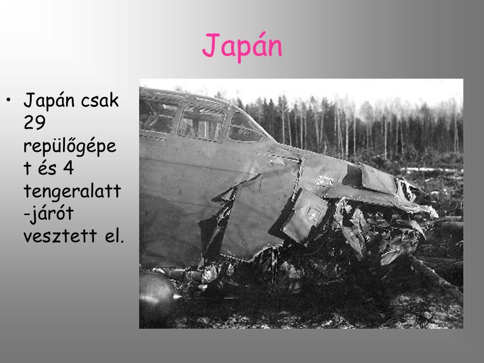 Japán Japán csak 29 repülőgépe t és 4 tengeralatt -járót vesztett el.