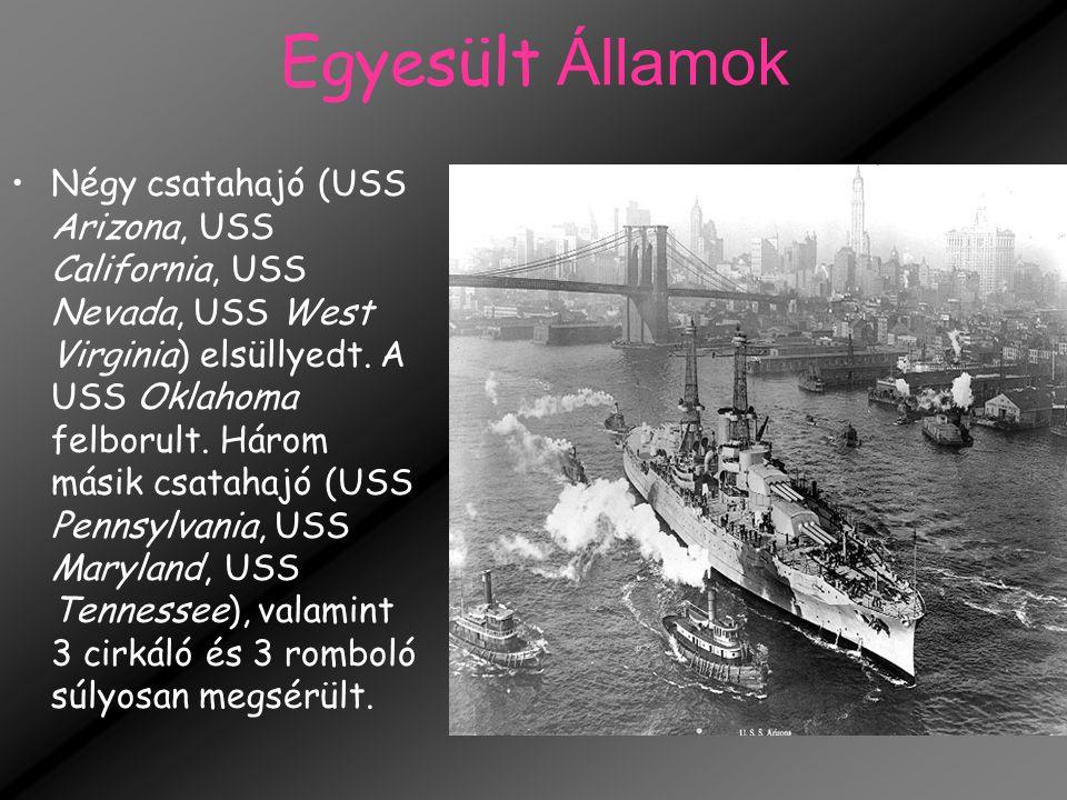 Egyesült Államok Négy csatahajó (USS Arizona, USS California, USS Nevada, USS West Virginia) elsüllyedt. A USS Oklahoma felborult. Három másik csataha