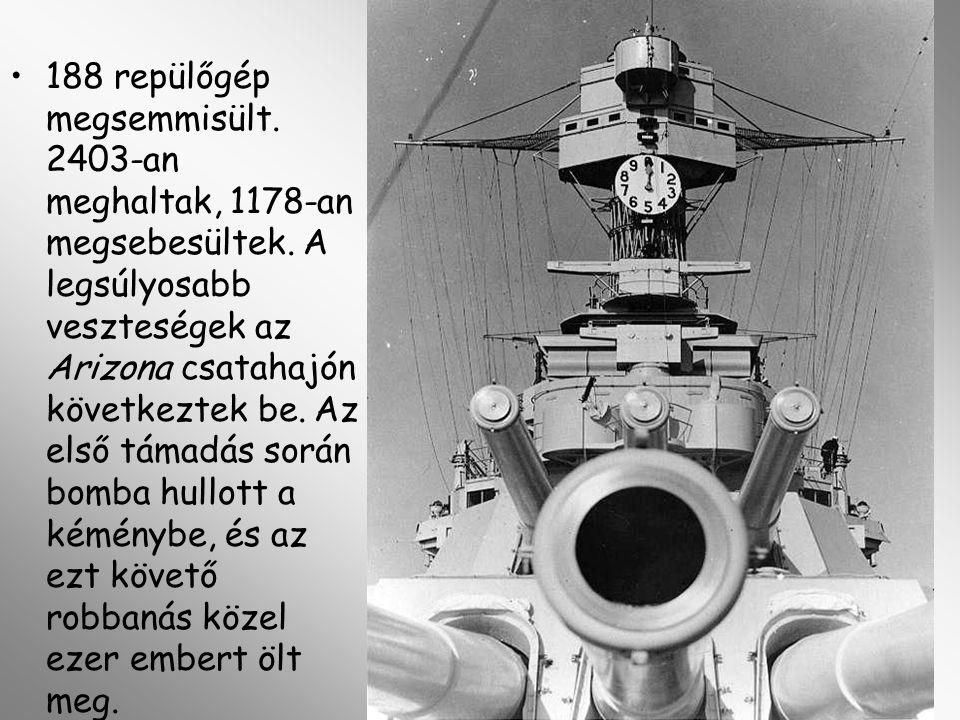 188 repülőgép megsemmisült. 2403-an meghaltak, 1178-an megsebesültek. A legsúlyosabb veszteségek az Arizona csatahajón következtek be. Az első támadás