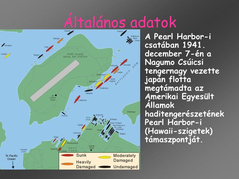 Általános adatok A Pearl Harbor-i csatában 1941. december 7-én a Nagumo Csúicsi tengernagy vezette japán flotta megtámadta az Amerikai Egyesült Államo