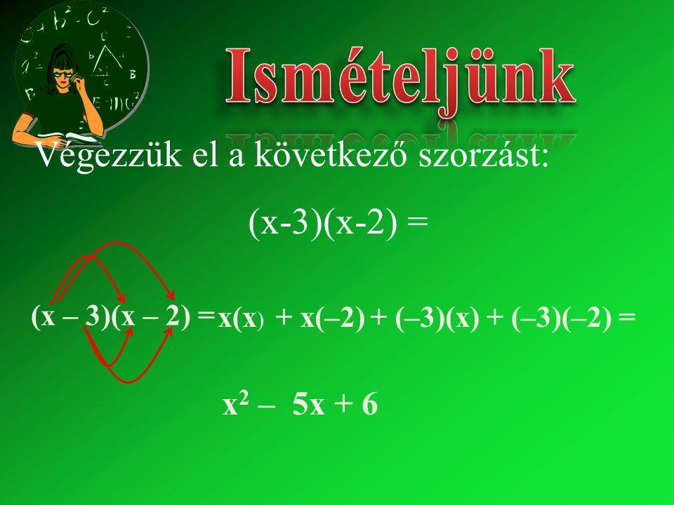 x2 x2 – 5x + 6 x(x ) + x(–2)+ (–3)(x) + (–3)(–2) = (x – 3)(x – 2) = Végezzük el a következő szorzást: (x-3)(x-2) =