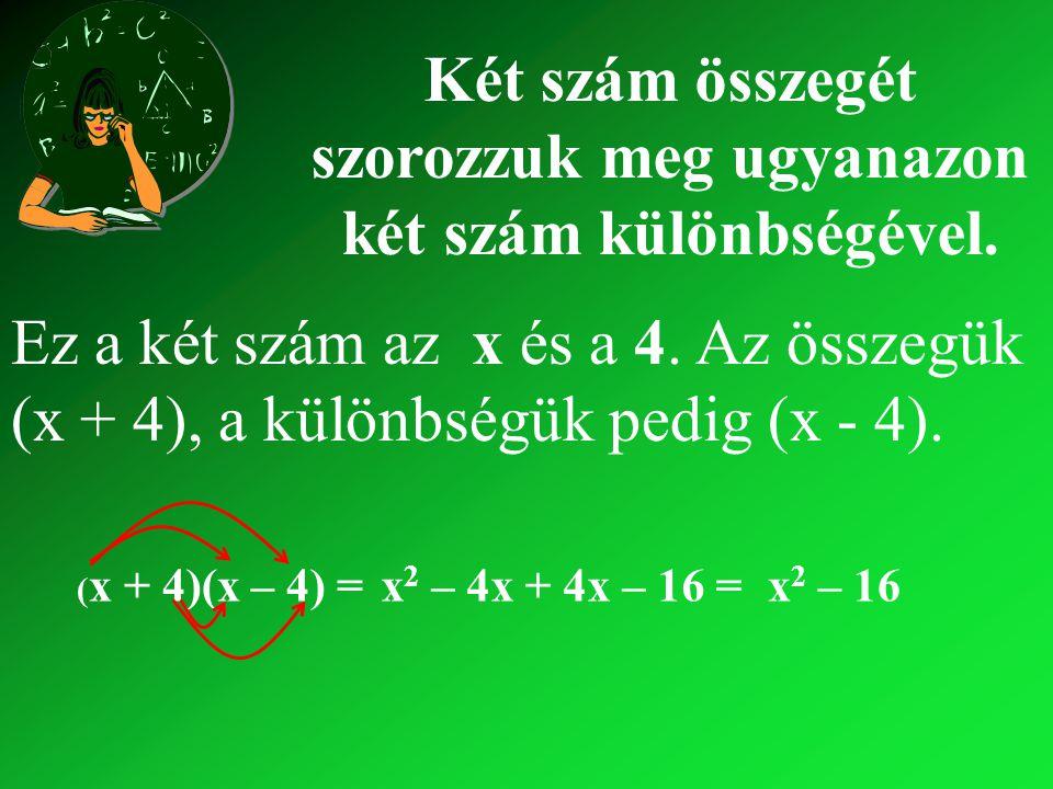 (x + 4)(x – 4) =x2 x2 – 4x + – 16 = x2 x2 – Nézzünk még hasonló szorzatokat: (x + 3)(x – 3) = x2 x2 – 3x + – 9 = x2 x2 – 9 (5 – y)(5 + y) =25 + 5y – – y2 y2 = 25 – y2y2 } } Mit veszünk észre?