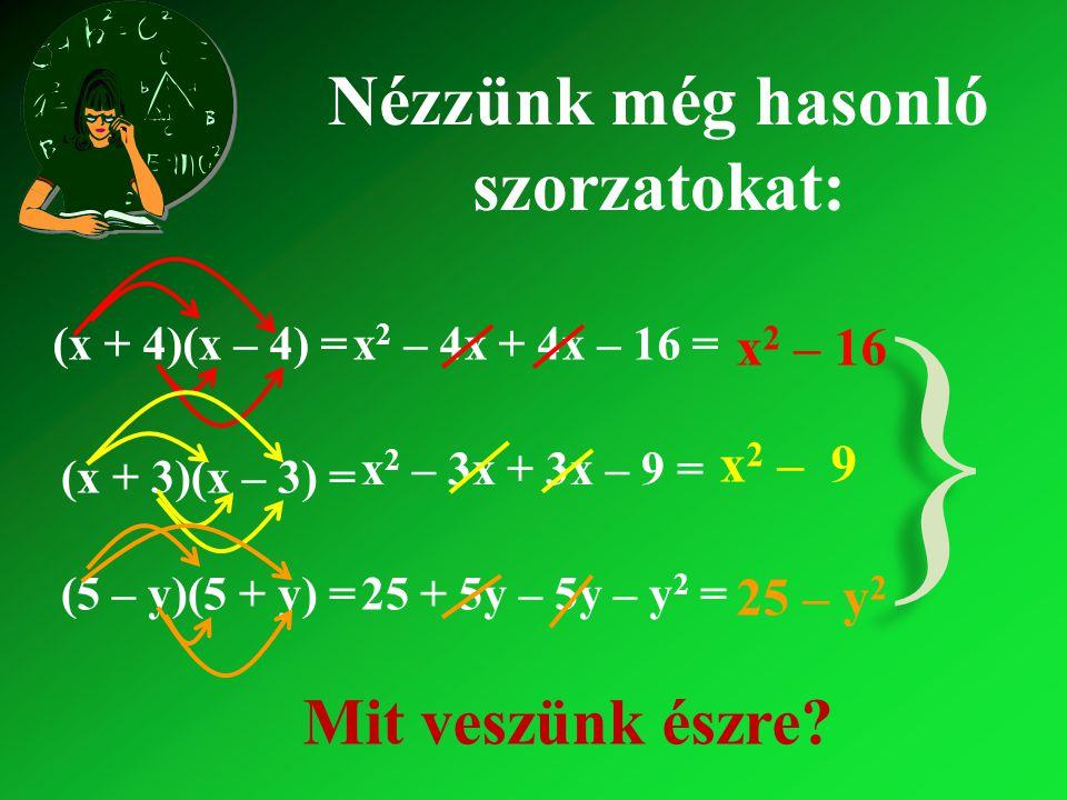 (x + 4)(x – 4) =x2 x2 – 4x + – 16 = x2 x2 – Nézzünk még hasonló szorzatokat: (x + 3)(x – 3) = x2 x2 – 3x + – 9 = x2 x2 – 9 (5 – y)(5 + y) =25 + 5y – – y2 y2 = 25 – y2y2 } } Mit veszünk észre