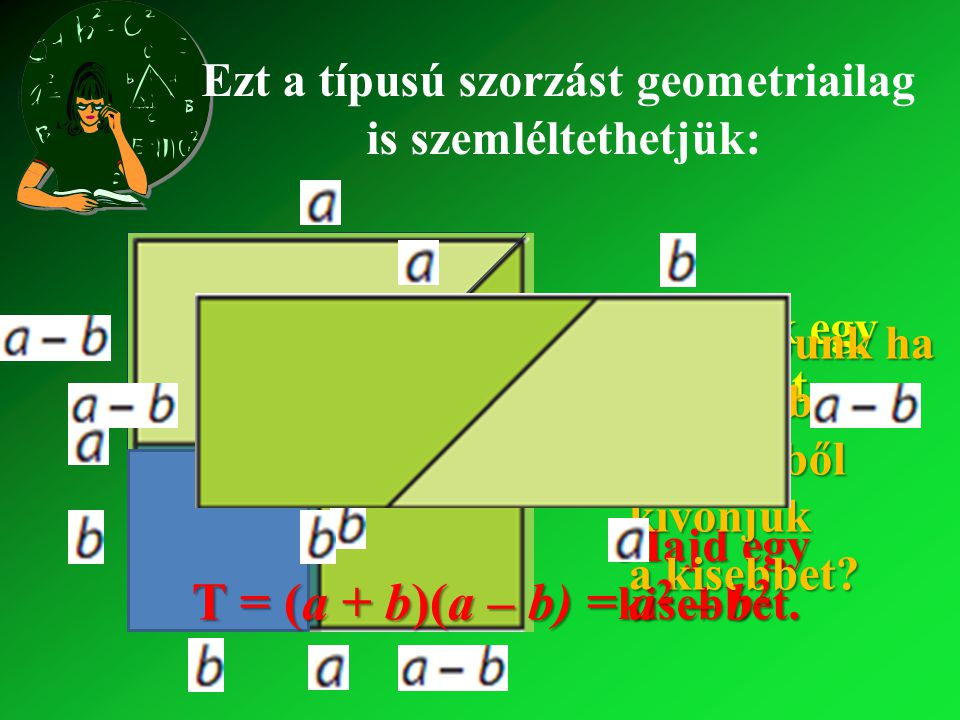 (2x – 5)(2x + 5) = Nézzünk még egy feladatot: = (2x) 2 – 5252 = 4x 2 – 25